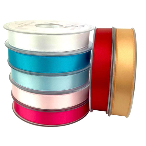 Double satin ribbon in a wide variety of colours. 15mm wide and 10 meter roll.