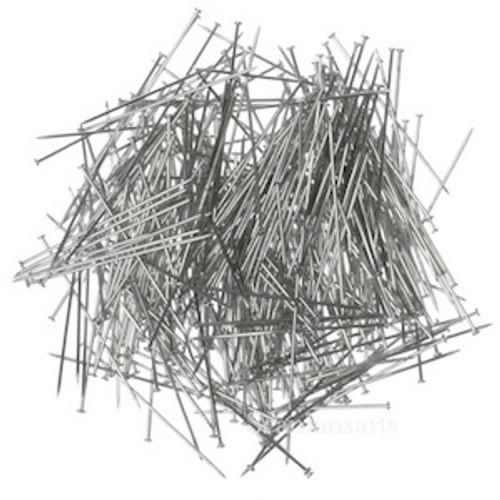 Approximately 150 straight steel pins rust protected in a  clear plastic box with removal lid.