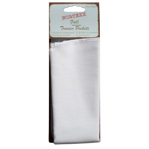 White cotton trouser pocket repair kit.