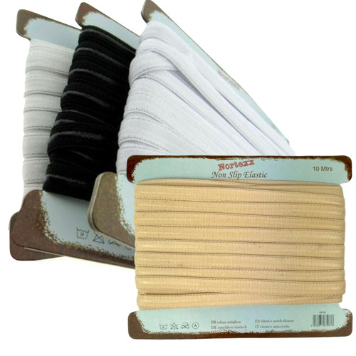 Non slip elastic, 10mm wide and 10 meter card.