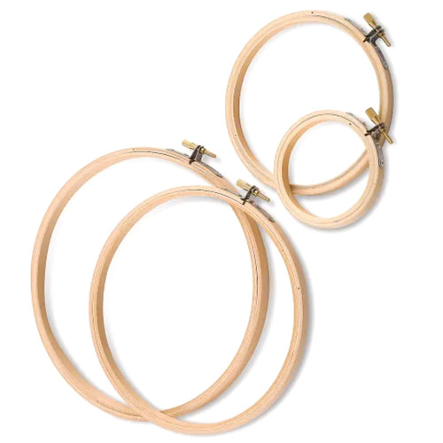 Wooden embroidery hoops made from quality wood, available in a variety of sizes.