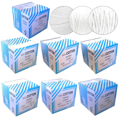White cotton piping cord in six sizes each boxed with a whole in the top of the box for easy, tangle free use.