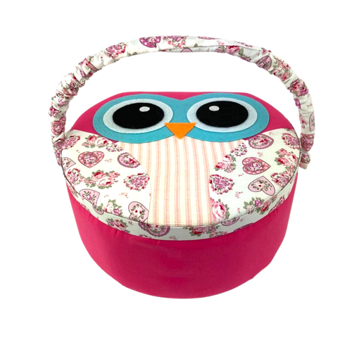 Pink owl sewing box with adjustable handle and ample storage.
