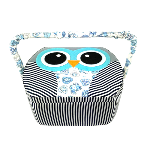 Blue owl sewing box with adjustable handle and ample storage.