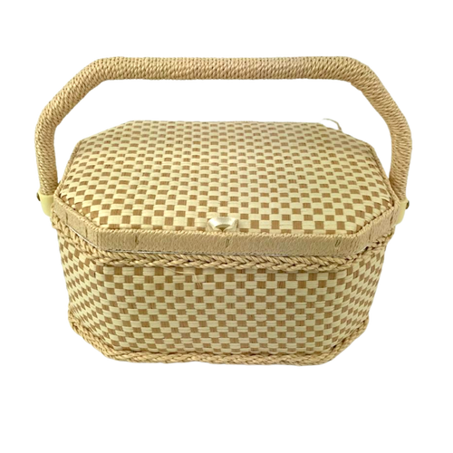 Cream and beige check sewing box with adjustable handle and pin cushion lid.