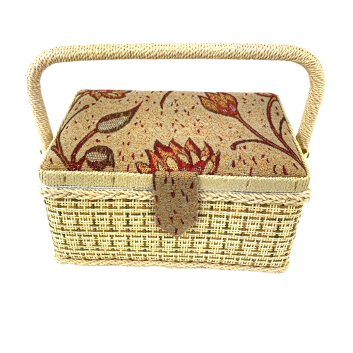 Sewing box with floral quality fabric and basket weave design.
