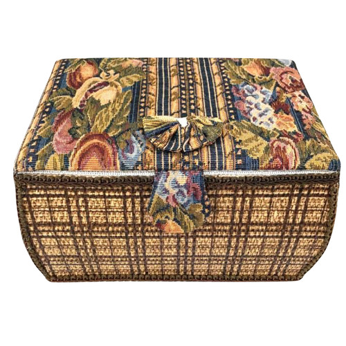 Sewing basket fabric in barrel sewing box with hinged lid.