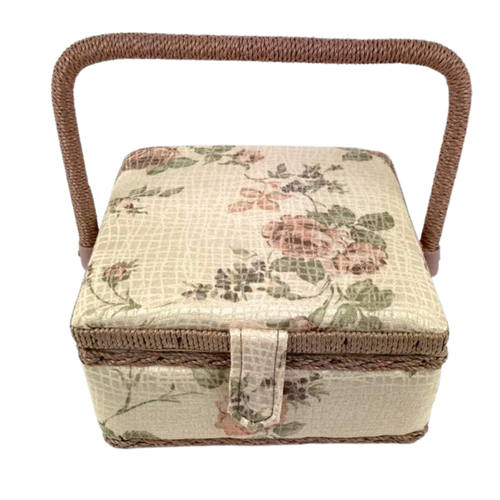 Hinged lid sewing box in pretty floral fabric and velcro tab closure.