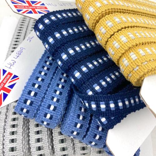 Mosaic braid trimming with cotton blend. Four colour options.