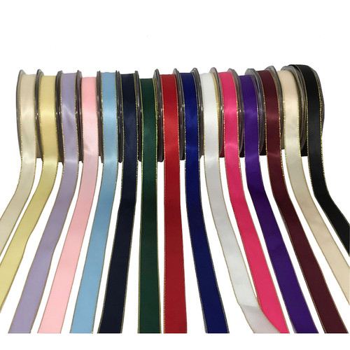 15mm wide double satin ribbon with gold edge on 25 meter roll. Variety of colours.