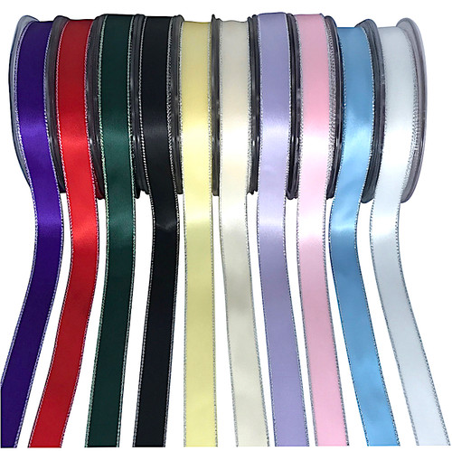 15mm wide double satin ribbon with silver edge on 25 meter roll. Variety of colours.