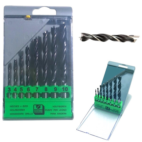 Quality wood drill bit set of 8pcs and hinged hard plastic storage case.