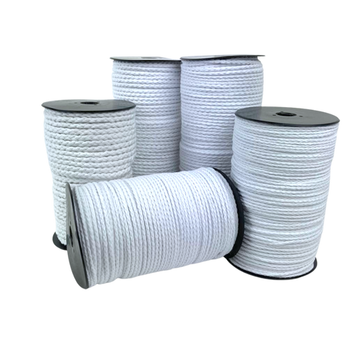 100% cotton piping cord in a plated construction. Pure white this is a lovely quality piping cord.