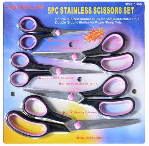 Set of five scissors with soft grip handles. Pink and black handles with stainless steel blades. Individually blister carded in euro hang pack.