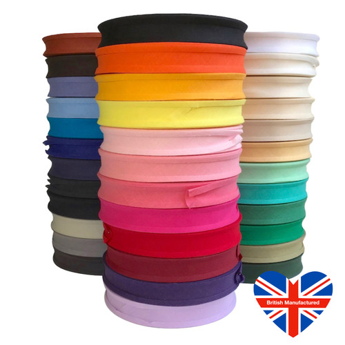 100% cotton bias binding, pre folded ready for use. 25mm (1 inch) wide after folding. Wide selection of colours.