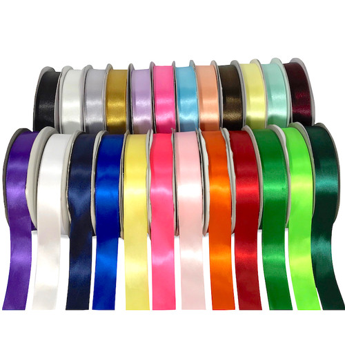 Double satin ribbon, Measuring (W)25mm (1 inch) on a 50 meter roll. Available in 25 colours and 4 widths