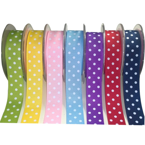 Ribbed grosgrain ribbons feature four rows of small white printed dots. Available in 8 colours.  Sold per meter or per roll (10mts) W:25mm