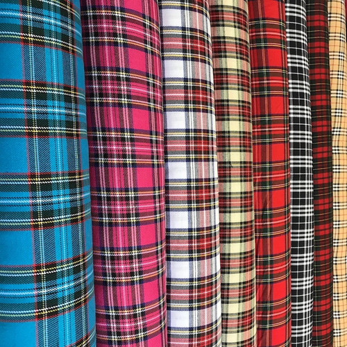 High quality polyester tartan fabric in a selection of designs. All measuring one and half meters wide. (150cm)
