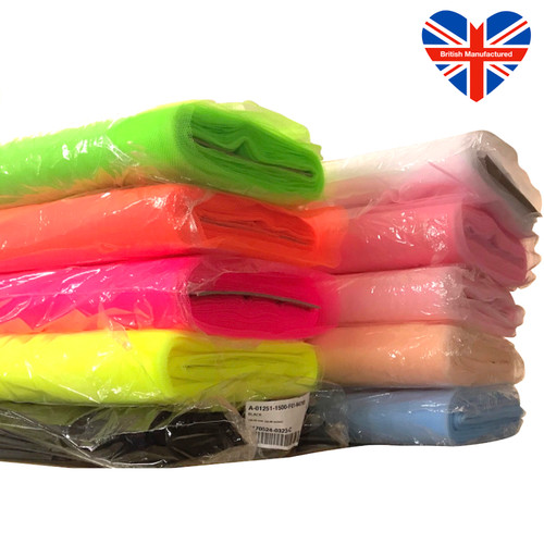 Colourful dress net also called tulle. Fire safe certified, used in clothing, fancy dress, crafting and weddings to add structure and volume.