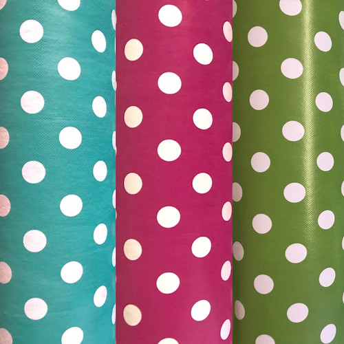 Polka dot or spot vinyl wipe clean fabric also commonly called PVC or Oilcloth. Ideal for tablecloth, upholstery, bag making.