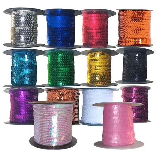 Sparkly 6mm sequins pre-strung onto string ready for sewing or gluing in place. Selection of colours all on 50 meter reels.