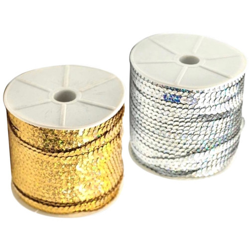 Hologram sequins pre-strung onto string in a selection of colours, on 50 meter reels.