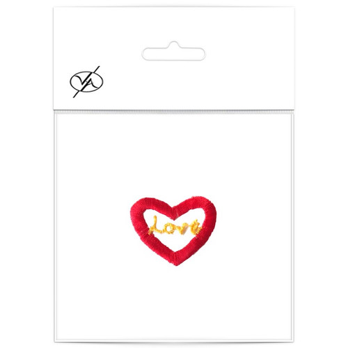 Small red heart with love embroidered in the middle. An iron on motif which can also be sewn on.