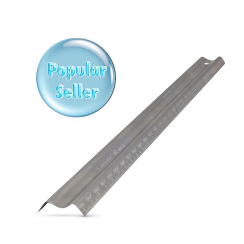 Our Safety Ruler is graded in metric on both edges and is made from stainless steel, ensuring that this is the perfect tool for cutting.