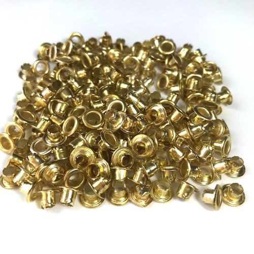 Brass plated eyelets D:5mm inner and D:7mm outer. Each pack holds approximately 200 eyelets.