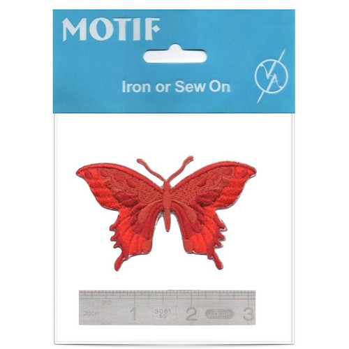 Red Butterfly Iron On Motif