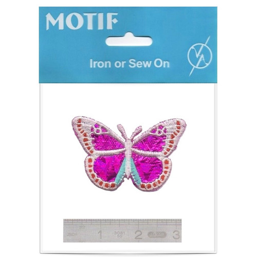 Cerise Green Butterfly Iron On Motif
