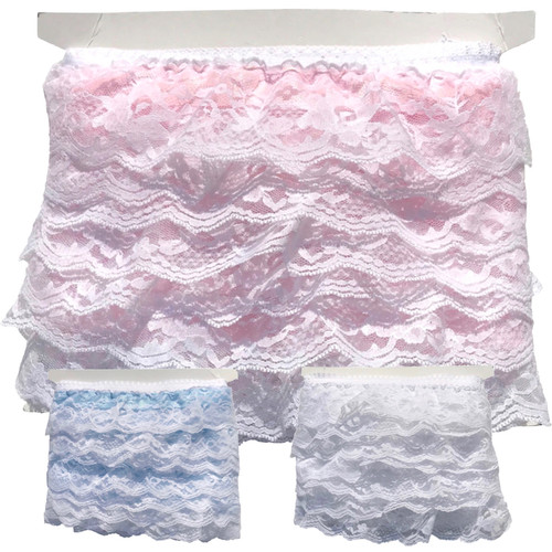 Wide frilled lace with satin ribbon and creating three layers. Pink, Blue and white shown on a 10 meter card.