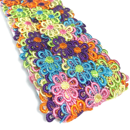 Machine embroidered flower lace in multiple colours. Colour daisy flower chain garland.