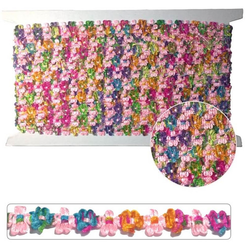 Sparkly flower braid trim on a 10 yard card.