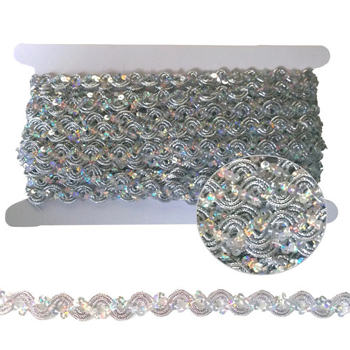 Silver sequined ric rac braid trim on a 10 meter card.