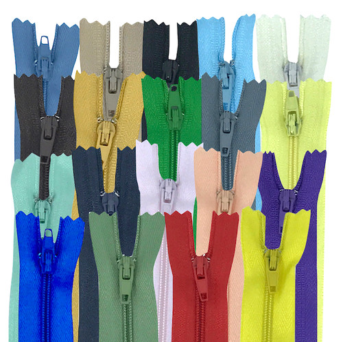 A general purpose closed end zip with painted zipper and zip pull in various sizes and colours