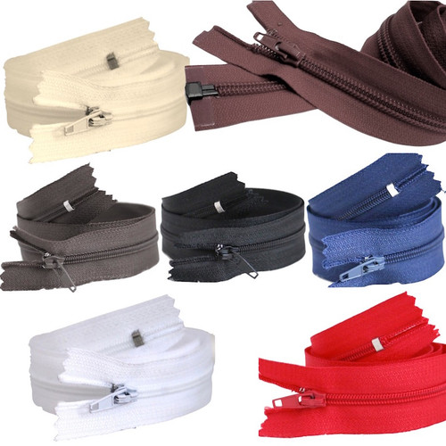 An open ended zip fastener for coats, jackets etc featuring painted zipper and zip pull in various sizes and colours.