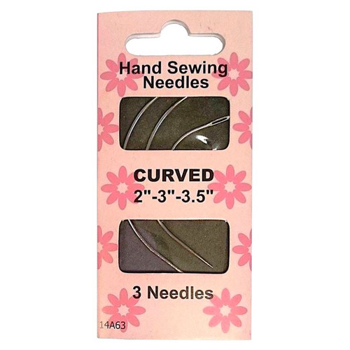 "Curved Hand Sewing Needles in sizes 2"" - 3"" - 3.5"". Individual pack contains 3 needles."