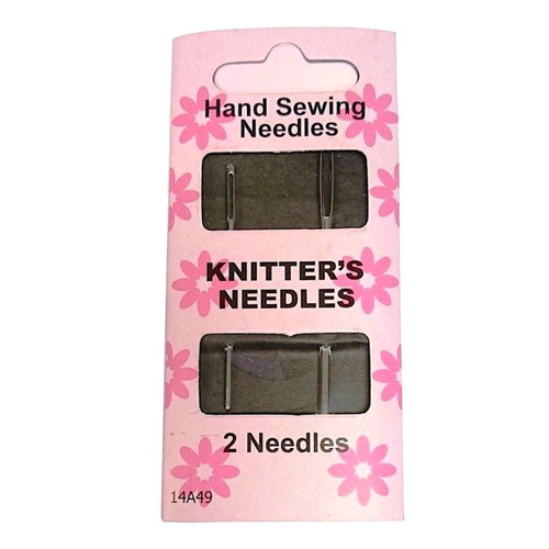 Knitters Hand Sewing Needles with blunt point and large eye in two sizes. Indvidual pack contains 2 needles.