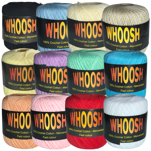 Whoosh crochet cotton in ten colours all 100% cotton on 400 yard balls.