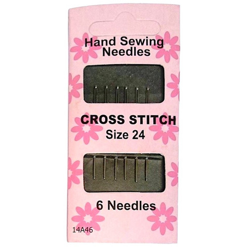 Cross Stitch Hand Sewing Needles in size 24. Individual pack contains 6 needles