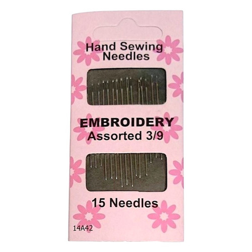Embroidery Hand Sewing Needles with reasonable size eye. Individual pack contains 15 needles in sizes 3/9