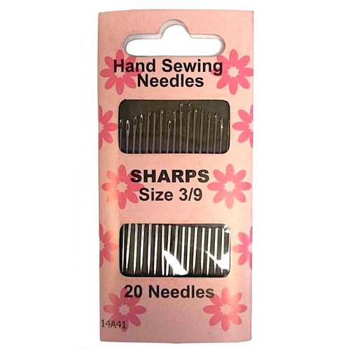 Sharps are the most popular hand sewing needle for general use. Each pack contains 20 needles in sizes 3/9.