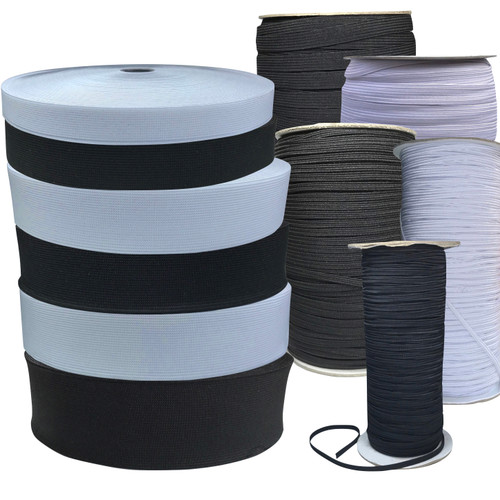 Elastic in white or black in wide variety of widths, by the meter and by the roll.