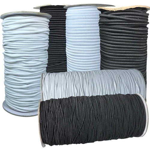 Black or white corded elastic in variety of sizes and lengths.