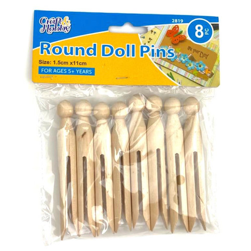 Traditional wooden round doll pegs.