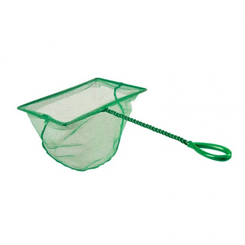Fine nylon mesh net made with durable seams and robust plastic coated twisted metal wire handle.