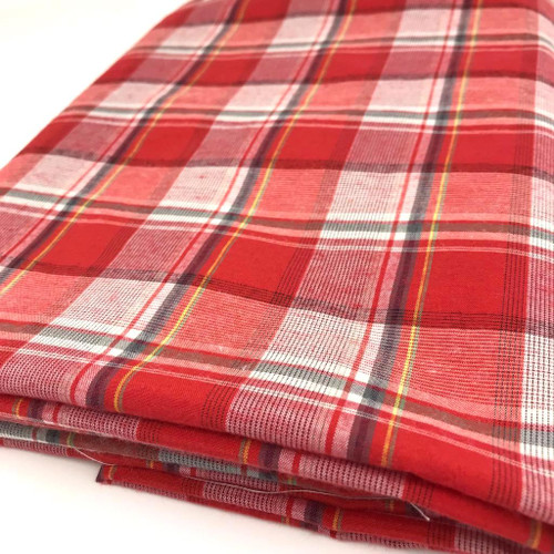 Check fabric similar to tartan in cotton and polyester mix.