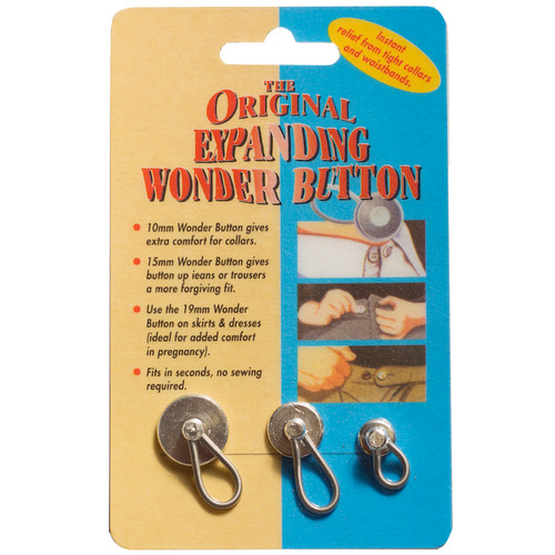 Pack of three sizes of expanding buttons, each with an elasticated loop giving you extra room when you need it.