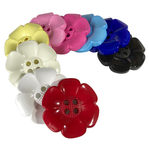 Very large round nylon buttons approximately 65mm diameter. Available in a wide selection of colours.